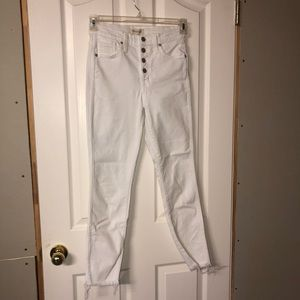10 inch button fly white madewell jeans